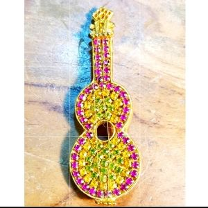 Guitar Brooch Red Yellow Green Rhinestone